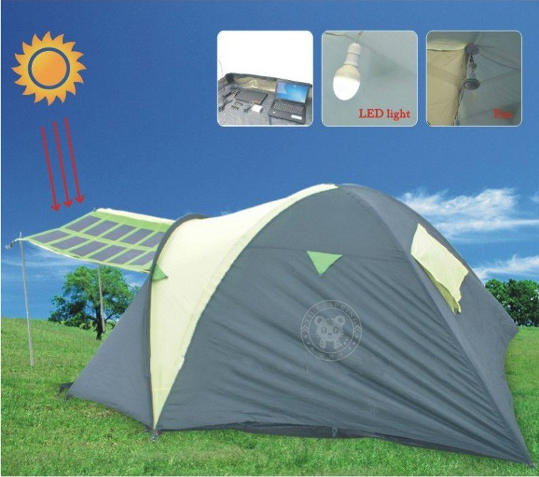 1) The solar panel is detachable to the solar tent. When you clear the tent or in rainy day you can move the solar panel. 2) Standard accessories include ... & solar power tent folding camping tent