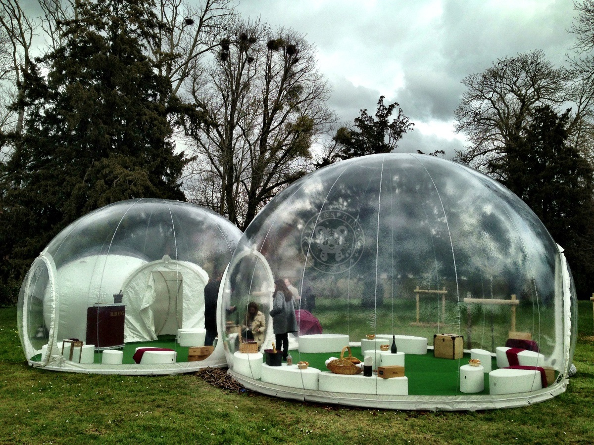 The Bubble Lodge hut is a real nomad villa composed of two spheres. A smaller sphere is learnt against the Bubble Room. & custom inflatable tent inflatable bubble lodge