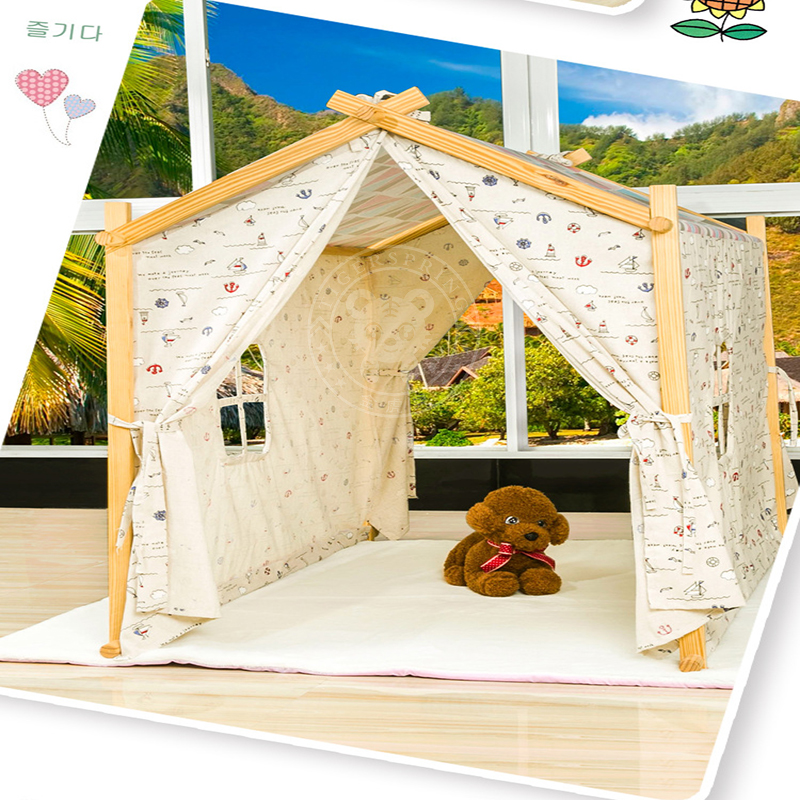 Indoor cotton canvas classic kids play house tent for for How to build a canvas tent frame